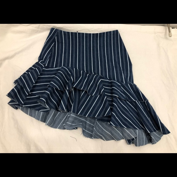 Zara Denim Unbalanced Skirt